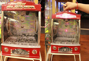 novelty fairground coin pusher arcade game