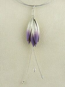 Handmade Sterling Silver Purple Petal Necklace 17