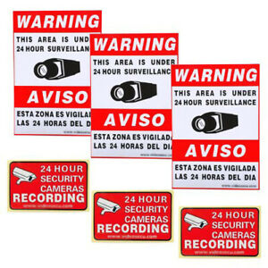6x Surveillance Security Camera Sticker Warning Decal Signs CCTV video home COU