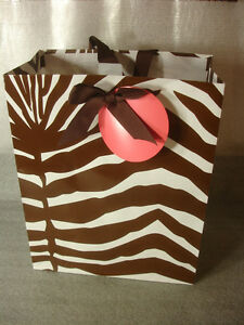 8 bag lot Zebra Animal Print Gift Bags White amp; Brown Expressions From Hallmark