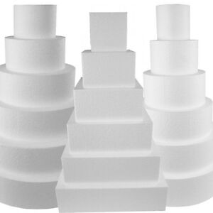 Round Cake Dummy  Square Dummie Cake  - Solid Foam Disc and Cubes - Not Hollow