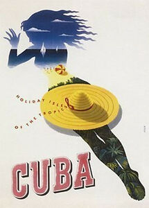 CUBA VINTAGE TRAVEL POSTER 24x36 HOLIDAY ISLE 36093 $9.50