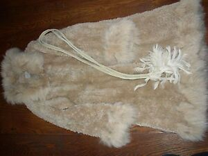GENTLY PRE-WORN PAULA LISHMAN KNITTED BEAVER COAT CASHMERE COLOR. SMALL
