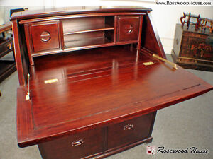Secretary Desk Handmade in Solid Rosewood Custom Design Carved Pine Tree Motif