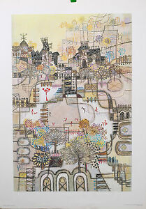 Skaters Vintage Lithograph by Artist Heshi Yu 16quot; x 24quot; Collectible Heirloom $49.99