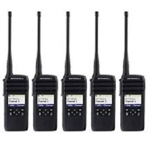5 New Motorola 900 MHz DTR550 RADIOS & CHARGERS & HOLSTERS 1 WATT TRANSMIT POWER