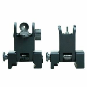 Tactical 223 556 Micro Flip Up Rapid Transition Front and Rear Iron Sight Set