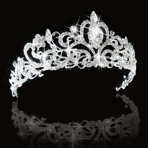 Bridal Princess Austrian Crystal Tiara Wedding Crown Veil Hair Accessory Silver $10.79