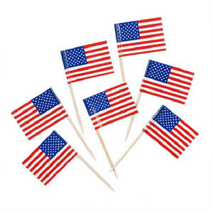 100 USA American Flag Toothpicks July 4th, Patriotic, Party, Appetizer, Cupcakes