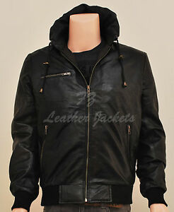 Men's Black Hooded Super Leather Bomber Jacket Hoody - ALL Sizes Available
