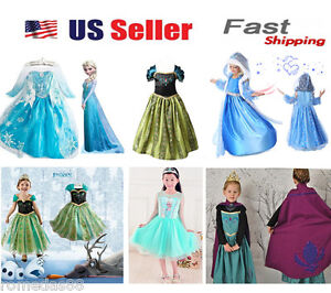 Gorgeous Queen Elsa amp; Princess Anna Costume Cosplay Party Dress Up $15.98