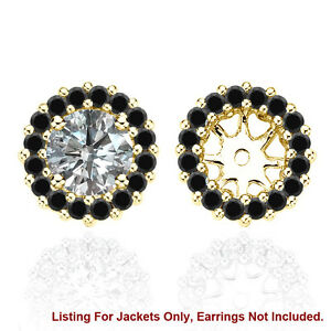 Black AAA Diamond Halo Solitaire Stud Bridal Earrings Jackets 14K Yellow Gold
