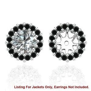 Black AAA Diamond Halo Solitaire Stud Bridal Earrings Jackets 14K White Gold