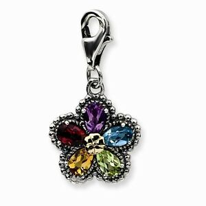 Multi Gemstone Flower Charm .925 Sterling Silver & 14K Gold Accent Amore La Vita
