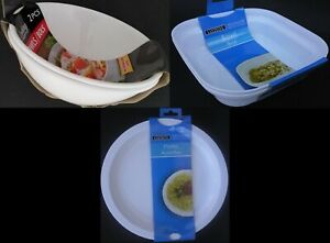 Microwave Dishes White Plastic Select: Plates, Bowls, Potato Baker, Covers