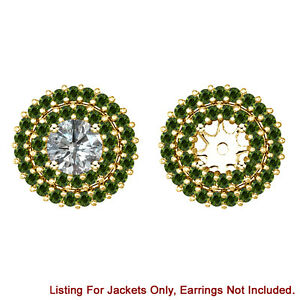 Green Diamond Double Halo Solitaire Stud Bridal Earrings Jackets 14K Yellow Gold