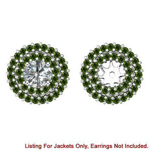 Green Diamond Double Halo Solitaire Stud Bridal Earrings Jackets 14K White Gold