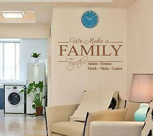 Personalized Name Wall Sticker We Make Family Together DIY Home Decor Wall Decal