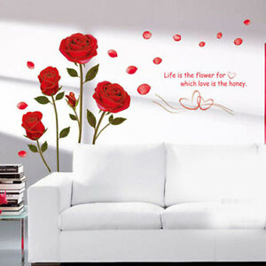 Home Decor Red Rose Wall Decal Mural Removable Flowers Wall Stickers Vinyl Art $8.09