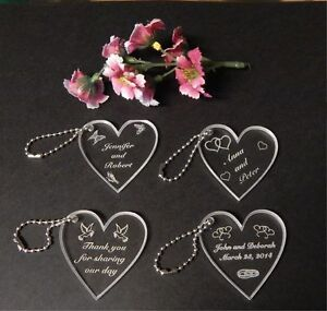 Personalized Custom Heart Wedding Key Chain Favors Choice of Design Qty of 25