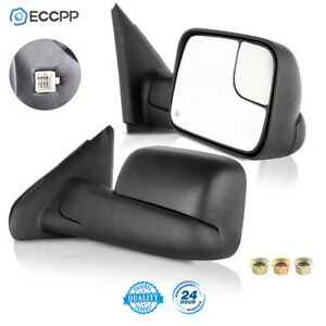 Power Heated Tow Mirrors Flip Up Pair For 2002 08 Dodge RAM 1500 03 09 2500 3500 $114.99
