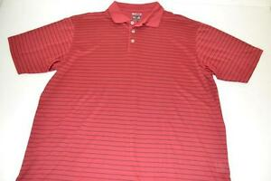 ADIDAS GOLF RED BLACK STRIPED DRY FIT POLO SHIRT MENS SIZE XL