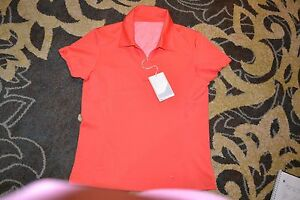 Nike Golf  Women's Fit Dry White Golf Shirt NWT $70 XS 0-2 Coral Color 624