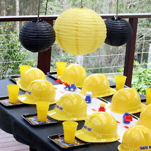 Yellow Construction Hat Soft Plastic Child Helmet Kids Hard Cap Birthday Party