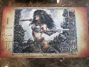 Signed Richard Kane Ferguson Female Battle Babe Stregth play mat  MTG Magic