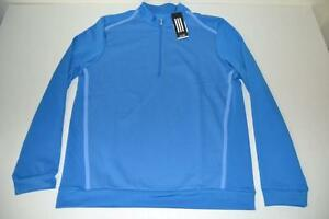 ADIDAS BIRDSEYE FLCH BLUE DRY FIT HALF ZIP SHIRT MENS SIZE MEDIUM M NEW