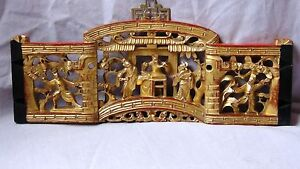 ANTIQUE CHINESE WOOD HAND CARVED GILT PIERCED PLAQUE OF COURT SCENE IN PALACE $315.00
