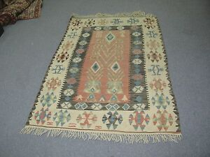 Antique Vintage Hand Made Turkish Hand Woven Wool on Wool Rug Kilim 40