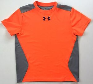 Under Armour Youth Junior Dry Fit Athletic Loose Shirt Orange Gray size M Medium