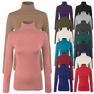 Womens Turtleneck Long Sleeve Basic Solid Fitted Shirt with Stretch SML $8.99