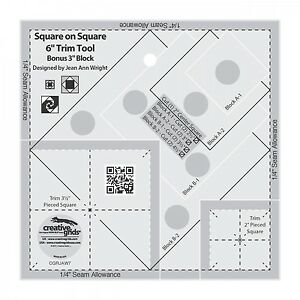 Creative Grids Square on Square 6quot; Trim Tool Sewing and Quilting Ruler $20.99