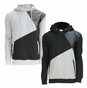 Soul Star Contrast Overhead Hoodie Men's Fleece Sweatshirt Hooded Top Black Grey