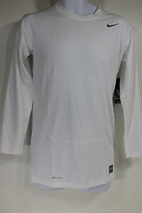 Nike Pro Combat Dry Fit White Compression Base Layer Long Sleeve Shirt