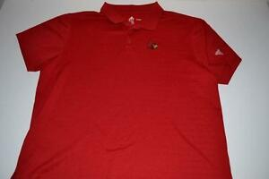 ADIDAS SPORTS LOUISVILLE CARDINALS RED DRY FIT POLO SHIRT MENS SIZE XL