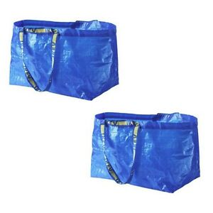 2 IKEA SHOPPING BAG NEW LARGE REUSABLE LAUNDRY TOTE GROCERY STORAGE FRAKTA