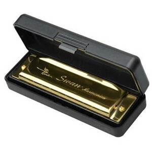 Swan Harmonica 10 Holes Key of C GOLDEN w Case Blues Harp Metal Steel NEW $6.19