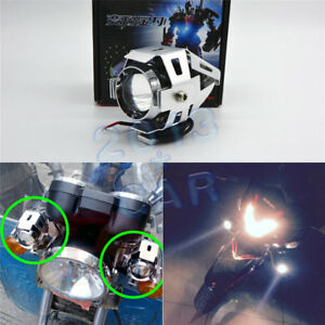 Transformers Style White CREE LED Spot Light Silver case For Motorcycle Kawasaki