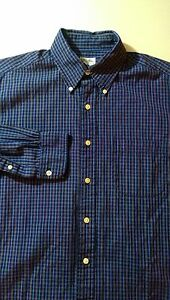 BROOKS BROTHERS Mens Casual Sport Shirt SIZE MEDIUM Dark Navy Blue Plaid Check