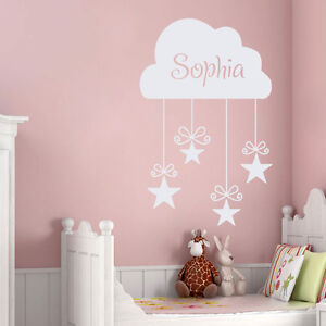 Girls Name Decal Kids Wall Decals Nursery Cloud Stickers Star Bedroom Decor DR15 $26.55