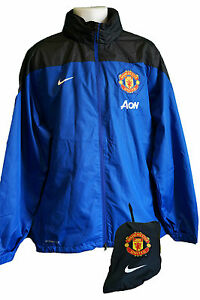 Nike MANCHESTER UNITED Packable Stay Dry Storm Fit Football Rain Jacket sBlue