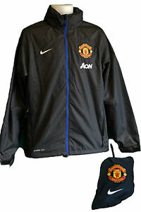 Nike MANCHESTER UNITED Packable Stay Dry Storm Fit Football Rain Jacket Black *
