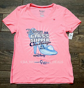 NEW Run Disney 2016 Glass Slipper Challenge Women's Running Shirt Pink S - 2XL