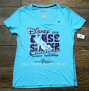 NEW Run Disney 2016 Glass Slipper Challenge Women's Running Shirt BLUE S - 2XL
