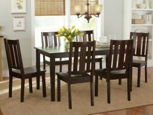 7 Pc Mocha Dining Room Set Wood Kitchen Furniture Table amp; 6 Chairs Dinette Sets