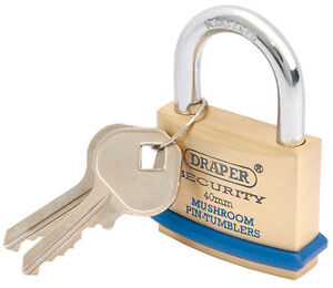 Draper 40mm Solid Brass Padlock and 2 Keys with Mushroom Pin Tumblers Hardened S