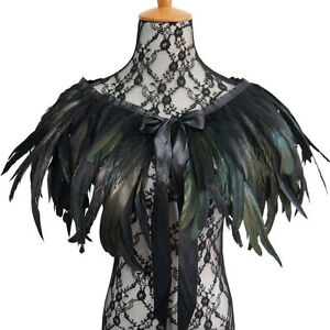 Victorian Natural Rooster Feather Shrug Shawl Shoulder Cape Choker Collar Tie $11.27